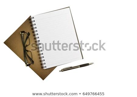 眼鏡 ノートブック 孤立した 木の質感 ビジネス 紙 ストックフォト © Archipoch