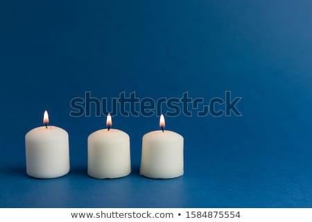 Palenie Świeca ciemne niebieski płomień Zdjęcia stock © AndreyKr