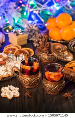 deux · orange · alcool · cocktails · lumière · bougies - photo stock © karandaev