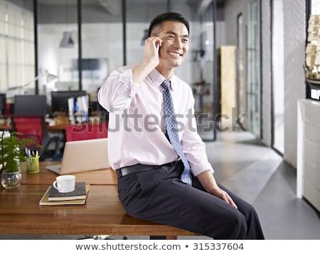 Asya · adam · konuşma · telefon · teknoloji · kentsel - stok fotoğraf © cozyta