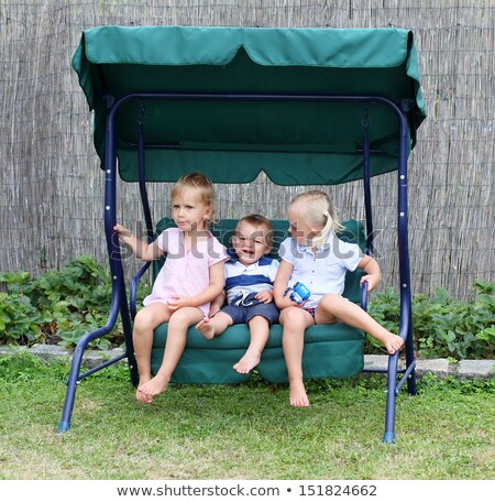three friends in a garden on the swing stock photo © arturkurjan