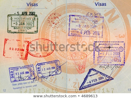 asian visas on compass background Stock photo © smithore