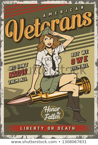 Retro militaire pinup vector eps seks Stockfoto © mechanik