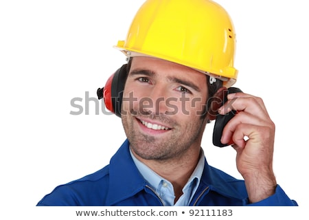 happy builder wearing ear protection stock photo © photography33