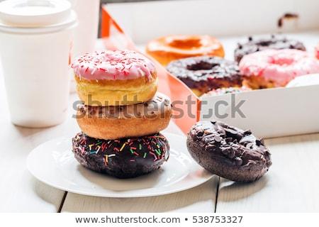 engorda · rosquinha · café · insalubre · sobremesa · bolinhos - foto stock © stuartmiles