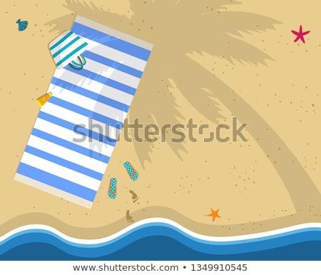 Summer time. Footprint on the Beach Sand, vector illustration  Stock photo © carodi