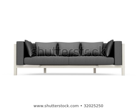 Stock photo: Black leather armchair isolate over white