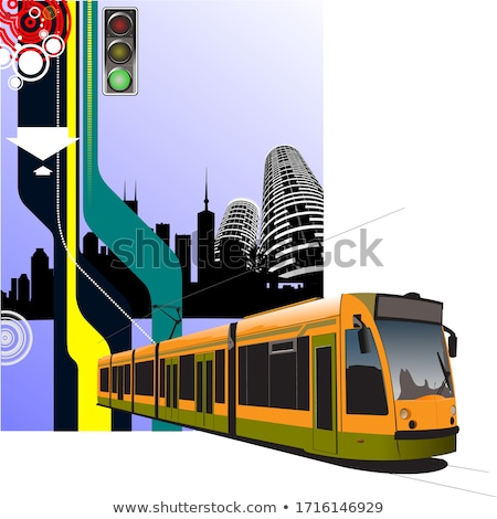 Stock photo: Abstract hi-tech background with tram image. Vector illustration