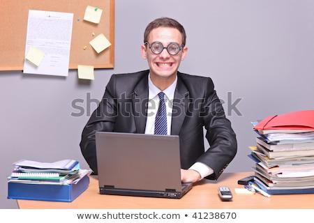 Zakenman lachend dom glimlach aantrekkelijk midden Stockfoto © scheriton