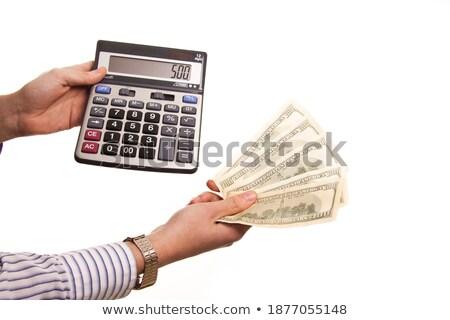 számológép · 500 · dollár · kezek · izolált · fehér - stock fotó © shutswis