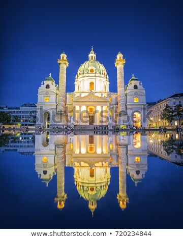 karlskirche st charles cathedral at dusk in vienna austria stock photo © vladacanon
