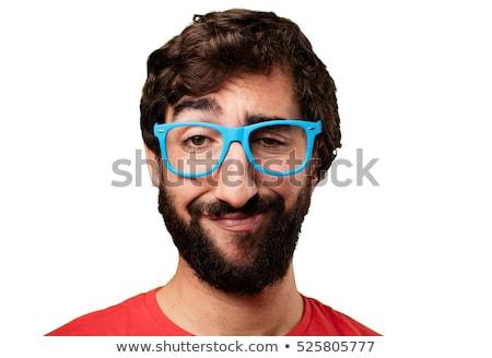 Hülye férfi fiatal egészalakos fehér mosoly Stock fotó © zittto