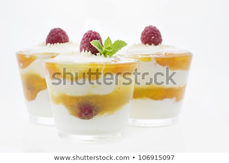 Raspberry mascarpone dessert in small glasses Stock photo © haraldmuc