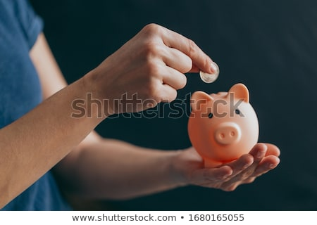Hand inserting coin into piggy-bank Stock photo © shutswis