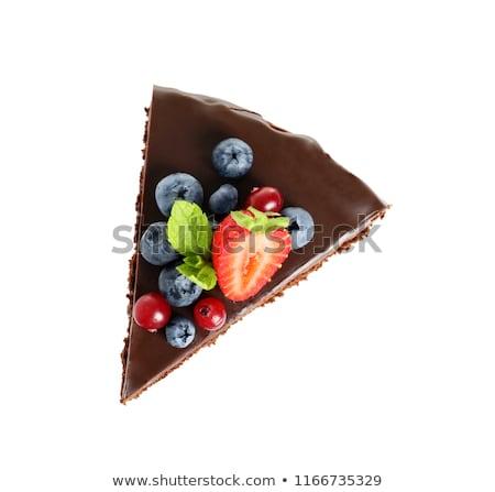 chocolate pie and berries stock photo © m-studio