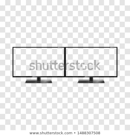Twee moderne breedbeeld lcd monitor witte Stockfoto © tashatuvango