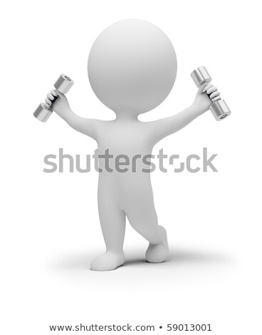 3d small people exercises with dumbbells Stock photo © AnatolyM