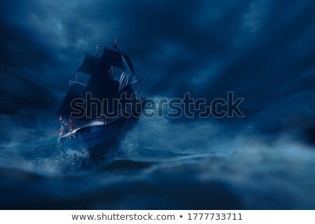 kalóz · hajó · naplemente · díszlet · égbolt · víz - stock fotó © lirch