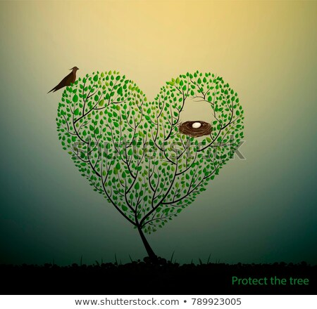 birds on tree in heart nest vector stock photo © beaubelle
