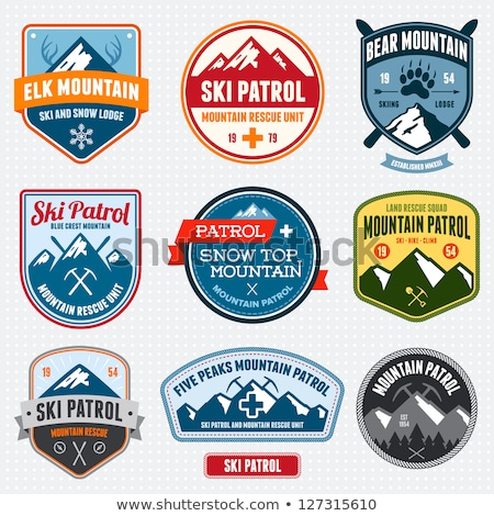 Ski badges montagne neige sport Photo stock © mikemcd