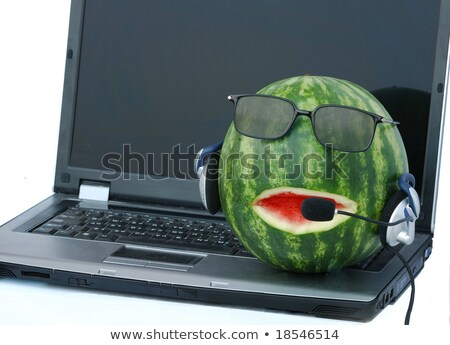 A notebook and a head-like watermelon in headphone and eyeglasse stock photo © vaeenma