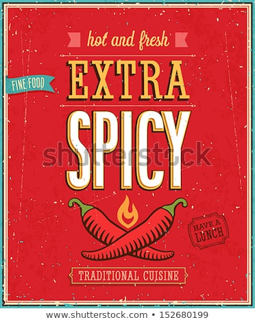 extra · fűszeres · chilipaprika · bélyeg · klasszikus · stílus - stock fotó © squarelogo