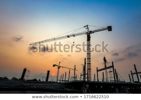construction · grue · crépuscule · silhouettes · pont · coloré - photo stock © aetb