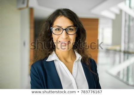 Jovem caucasiano empresária morena dedo Foto stock © Forgiss