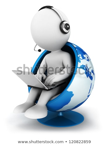 3d People With Laptop And Earth Globe ストックフォト © 3dmask