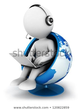 Gens 3d portable terre monde blanche affaires Photo stock © Quka