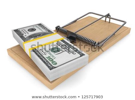 ratón · trampa · dinero · papel · mano · madera - foto stock © carenas1