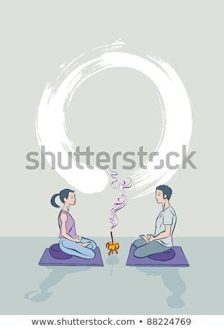 Paar oefenen tantra yoga vrouw man Stockfoto © Wikki