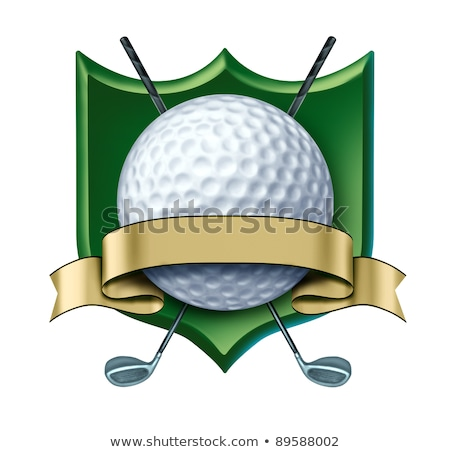 Stock fotó: Golf Award Crest With Blank Gold Label