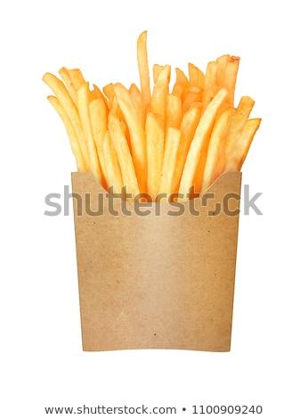 ストックフォト: フライドポテト · 紙袋 · 孤立した · 白 · 紙 · 背景