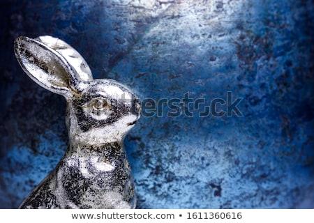 wesołych · Świąt · srebrny · królik · błyszczący · metal · wektora - zdjęcia stock © gubh83