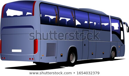 Blue City bus. Coach. Vector illustration for designers stock photo © leonido