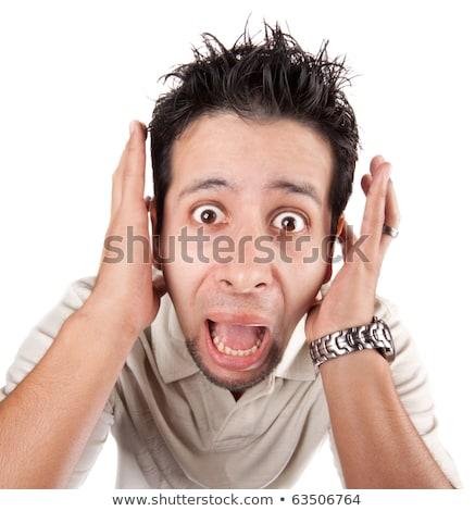 Férfi sikít kamera közelkép fej vállak Stock fotó © dacasdo