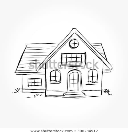 Domu szkic streszczenie przezroczysty rysunek pióro Zdjęcia stock © romvo
