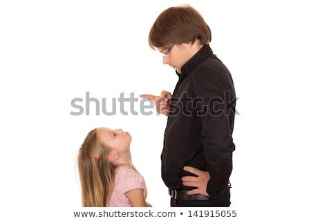 vader · wijzend · vinger · dochter · verkeerd · weinig - stockfoto © doupix