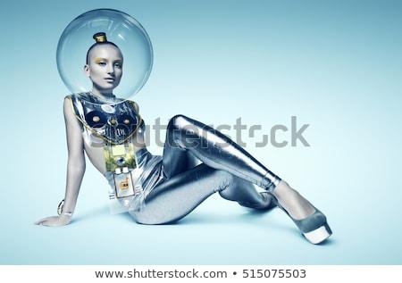smink · hajviselet · nő · futurisztikus · ezüst · trendi - stock fotó © lunamarina