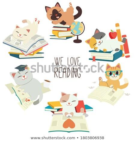 cartoon · kot · notatka · ilustracja · Uwaga · cute - zdjęcia stock © lenm