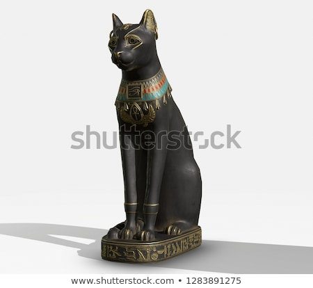 Egyptian cat statue on white Stock photo © lucielang