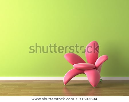 interior design pink flower shaped armchair on green Stock photo © arquiplay77