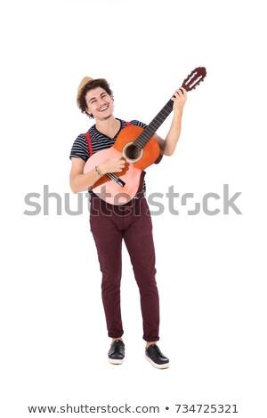 arab · férfi · játszik · gitár · izolált · fehér - stock fotó © elnur