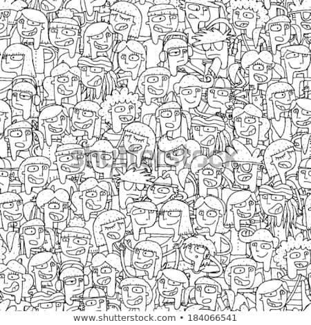 Singing Children Choir Seamless Pattern In Black And White Stock photo © VOOK