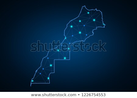 Kaart Marokko 3D vorm gekleurd Blauw Stockfoto © NiroDesign