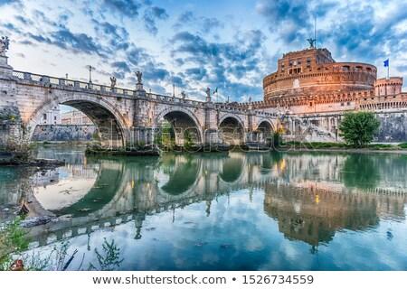 statue of angel on the santangelo bridge italy rome stock photo © nejron