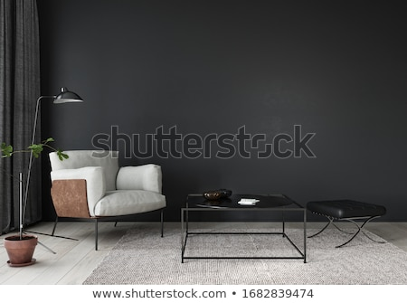 Stok fotoğraf: Modern Living Room With Beige Leather Armchair And Black Wall