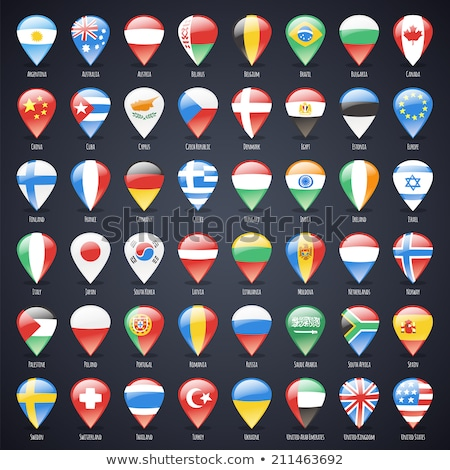 set of glass map pointers with world states flags stock photo © voysla