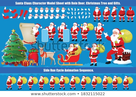 set of cartoon santa claus builders stock photo © voysla